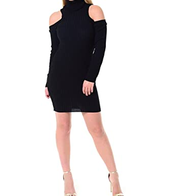 b3280cea46d JAVOX Fashion s New Womens Cold Shoulder Turtle Neck Knitted Bodycon Ladies Jumper  Dress (ML (