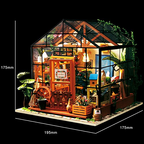 robotime diy dollhouse wooden miniature furniture kit mini green house with led best birthday. Black Bedroom Furniture Sets. Home Design Ideas