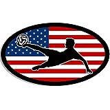 Oval USA Flag w/Soccer Player Sticker (Soccer Football Futbol Ball World Cup American)