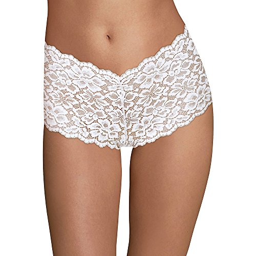 Maidenform Women's Sexy Must Haves Lace Cheeky Boyshort, White, 5 (White Lace Cheeky Underwear)