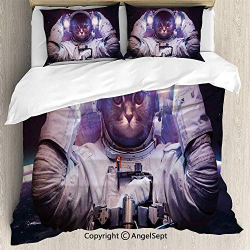 - AngelSept 3 Piece (1 Quilt Cover 2 Pillow Shams) Kitty in Cosmonaut Suit in Galaxy Stars Supernova Design Image,King Size,for Bedroom,Guest Room,White Purple and Dark Blue