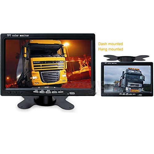 Ehotchpotch Backup Camera Kit for Bus Truck Vehicle, 7'' Color TFT LCD Widescreen16:9 Rearview Monitor, 4 Pin Connectors Waterproof CCD Camera IR Night Vision, Distance Scale Lines by Ehotchpotch (Image #4)