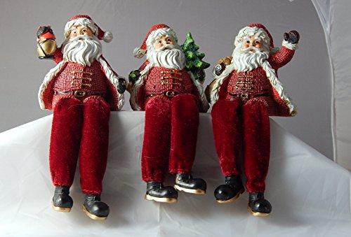 Resin Burlap Santa Shelf Sitters - Set of 3 Christmas Ornaments (Shelf Sitters Christmas)