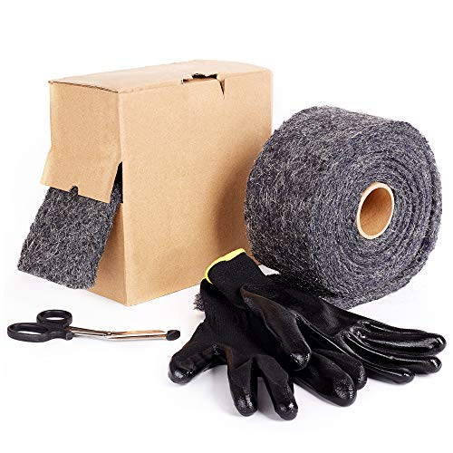 Nordstrand Steel Wool for Mice Control - Pest & Rodent Proof Metal Wire Mesh Roll 10ft 4in - Fill Fabric to Block Mouse & Rat Holes - Includes Scissors & Protective Gloves by Nordstrand