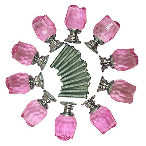 Yahead 10pcs Crystal Glass Door Knobs Rose Shaped Cabinet Cupboard Pulls Handles Drawer Knobs Wardrobe Home Kitchen Hardware 20mm Pink ()