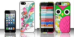 Combo pack For iPhone 5 / 5s - PREMIUM Designer PC Covers - Flowers TDP And For iPhone 5 - Rubberized Design Cover - Owl