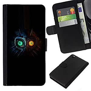 KLONGSHOP // Tirón de la caja Cartera de cuero con ranuras para tarjetas - Dos búho Faced - HTC DESIRE 816 //
