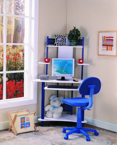 Kings Brand Blue Finish Corner Workstation Kids Children's C