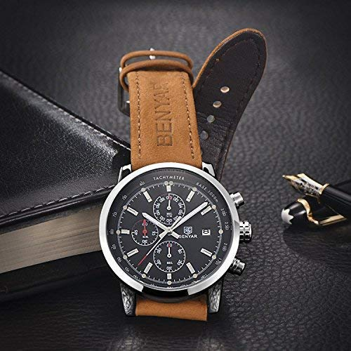 Watches Men's Fashion Analog Quartz Watch with Leather Casual Business Wrist Watch for Men
