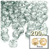 The Crafts Outlet 200-Piece Faceted Plastic Transparent Round Beads, 8mm, Clear