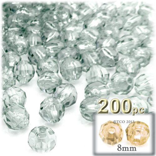 (The Crafts Outlet 200-Piece Faceted Plastic Transparent Round Beads, 8mm,)