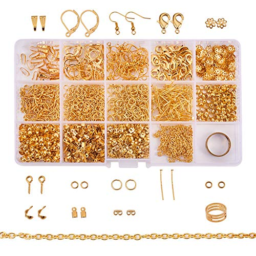 PandaHall About 1642 Pcs Jewelry Finding Kits with Snap Bail,Earring Hook, Ear Wire, Lobster Claw Clasp, Flower Bead Caps, Screw Eye Pin, Head Pin, Jump Ring, Crimp Beads, Cord End, - Hook Crimp And Eye