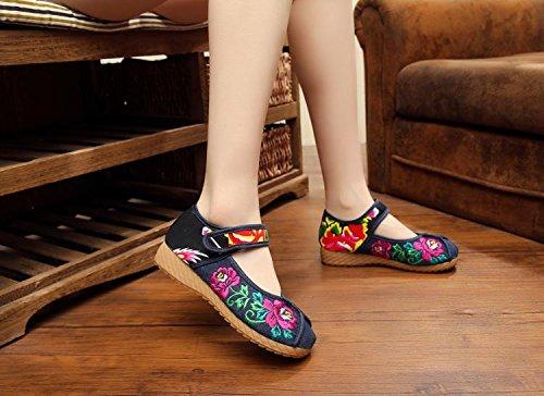 ZLL Gestickte Schuhe, Sehnensohle, ethnischer Stil, weibliche Tuchschuhe, Mode, bequem, lässig innerhalb der Zunahme , black , 43