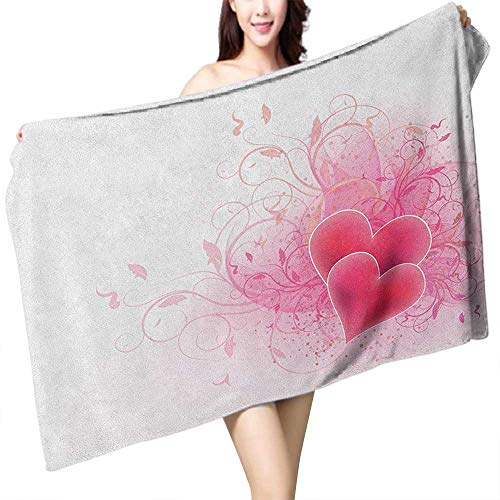 homecoco Beach Towel Romantic Valentines Day Themed Hearts with Floral Arrangement Romantic Amour Illustration W31 xL63 Suitable for bathrooms, Beaches, Parties ()