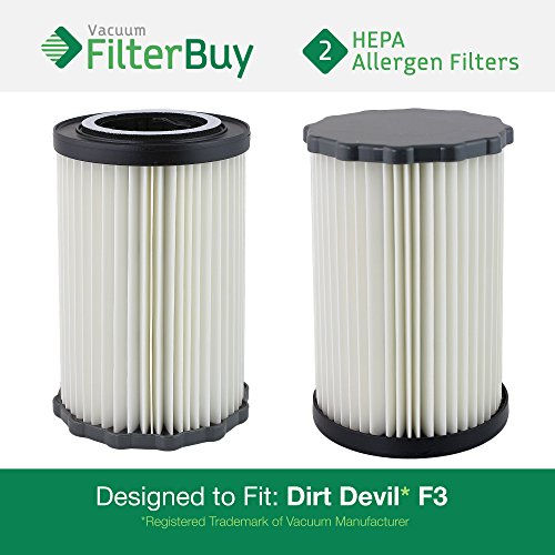 FilterBuy 2 - Dirt Devil F3 (F-3) Washable HEPA Replacement Filters, Part # 3-250435-001 (3250435001). Designed by to fit Dirt Devil Breeze and Dirt Devil Jaguar Breeze Vacuums -