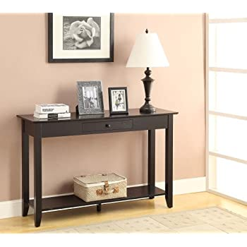 Bon Convenience Concepts American Heritage Console Table With Drawer And Shelf,  Black