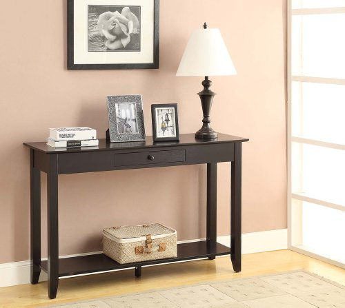 Convenience Concepts American Heritage Console Table with Drawer and Shelf, Black (American Heritage Hall Table)