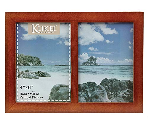 Klikel 2 Photo Collage Solid Walnut Brown Wood Picture Frame - 2 Opening 4 X 6 Picture Slots (Two Best Friends Photos)