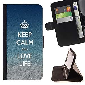 - Keep Calm and Love Life/ Personalizada del estilo del dise???¡Ào de la PU Caso de encargo del cuero del tir????n del soporte d - Cao - For Samsung Galaxy S5 V SM-G900