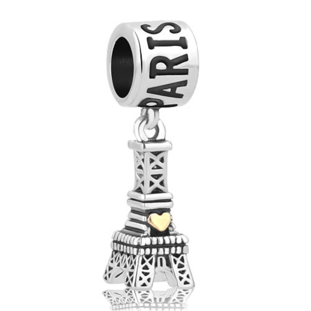 DemiJewelry Landmark Series Paris Eiffel Tower Dangle European-style Bead Charm fit Charms Bracelet