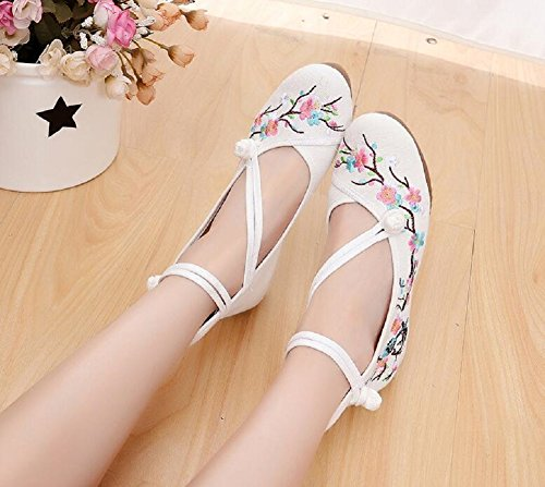 Lazutom Women's Vintage Chinese Style Embroidery Platform Wedges Sandals Dancing Party Dress Shoes Beige xocUEXMpv