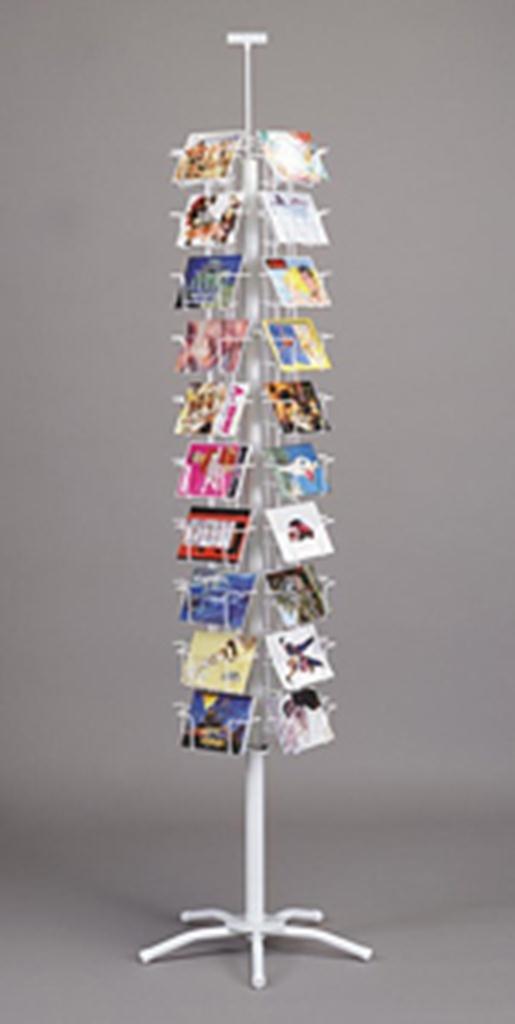 Postcard Spinner Carousel Rack Retail Store Display Fixture White 40 Pocket Holder New