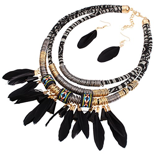 (L'VOW Vintage Feather Pendant Multi Layers Tribal Bib Necklace Statement Earring Jewelry Set (Black))