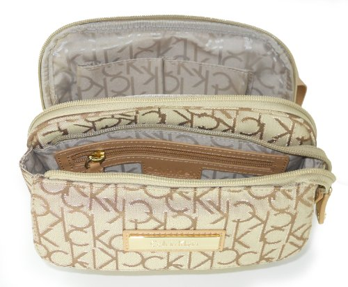 Calvin Klein, Hudson Jacquard Metallic Stitch Crossbody, khk/brn/gld