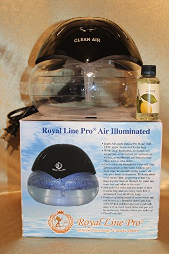 Royal Line Pro Deluxe Illuminated Air Purifier Humidifier Revitalizer Cleaner Air Washer Aroma Therapy Machine. Includes a bottle of Rainbow Rainmate Lemon Fragrance. Beautiful Shiny Black! by Royal Line Pro, Inc