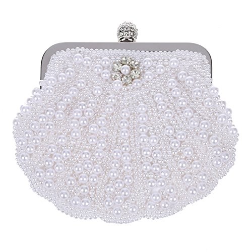 SODIAL(R) Perla elegante nuziale del sacchetto di frizione del partito borsa Shell sacchetto bianco