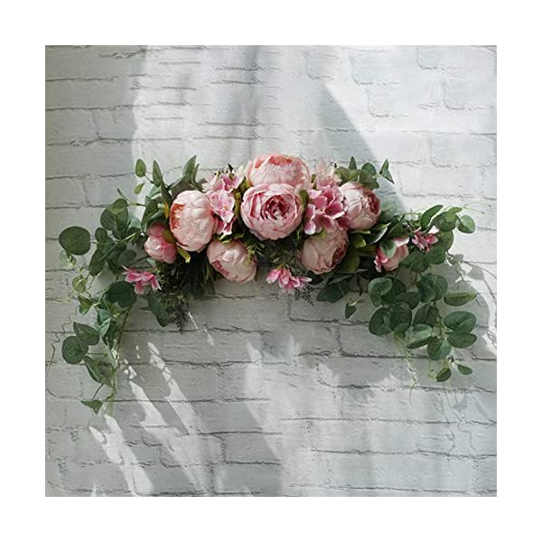 yHRgETLD Silk Flower Artificial Flower Decoration Vivid Rose Flower Wreath Door Threshold Garland Home Wedding Party Wall Decor Rose Pink#