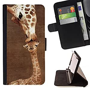 BullDog Case - FOR/Sony Xperia Z1 L39 / - / giraffe cute mother mom day brown /- Monedero de cuero de la PU Llevar cubierta de la caja con el ID Credit Card Slots Flip funda de cuer