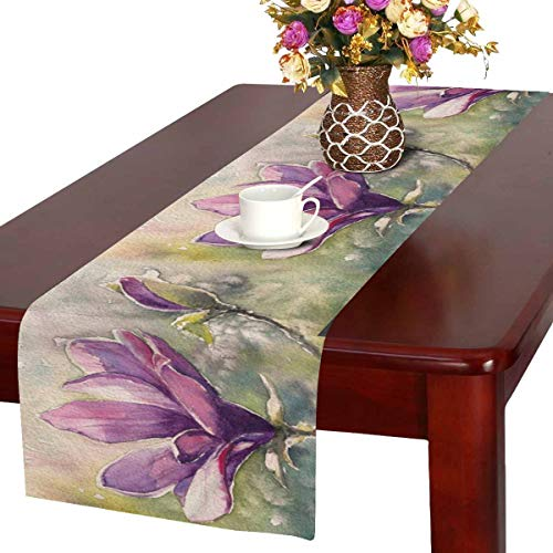 InterestPrint Watercolor Magnolia Flowers Floral Painting Table Runner Cotton Linen Cloth Placemat for Office Kitchen Dining Wedding Party Banquet 16 x 72 inches ()