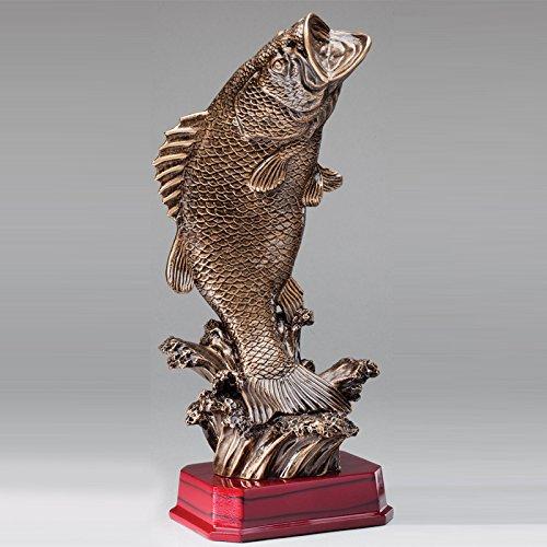 カスタマイズ可能な12インチアンティーク真鍮樹脂Bass Fish Trophy , Includes Personalization B0721YSF55