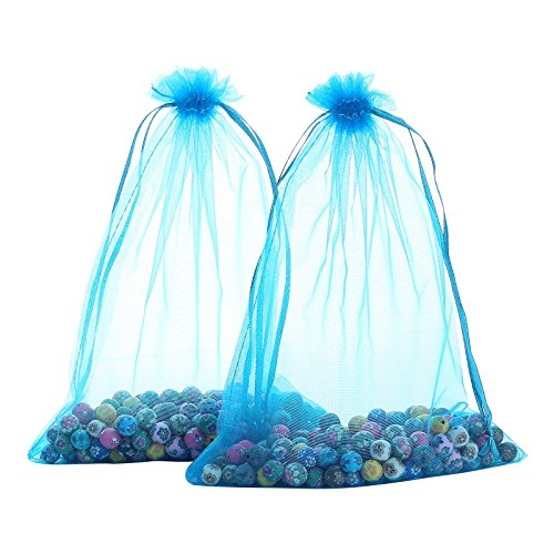 Anleolife 60pcs Lake Blue Large Organza Bags 5x8'' Sheer Organza Drawstring Pouches Versatile Packages Party Favors in Bulk Gift Bags&Pouches 14x22cm/5.5x8.6'' (blue)