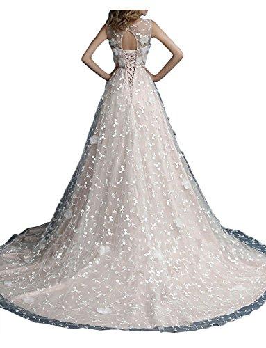 Gorgeous Bride Modern Rundkragen Lang Brautkleider A-Linie Satin Tüll Spitze Schleppe Abendkleider Lang Cocktailkleider Ballkleider