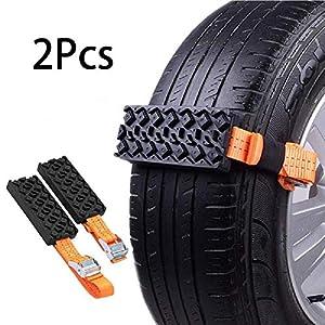 Chaînes à neige Riloer, chaînes de pneu antidérapantes 2 pièces pour voiture/camion/SUV, ceinture de pneu de voiture…
