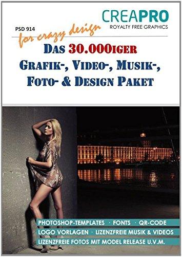 Das 30.000iger Grafik-, Video-, Musik-, Foto- & Design Paket von CreaPro. Set mit 4 DVDs. Ideal für Gebrauchsgrafik, Flyergestaltung, Illustrierung, ... Arbeiten. Für Photoshop, InDesign u. a.