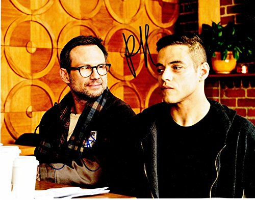 (Christian Slater and Rami Malek Signed - Autographed MR. ROBOT 11x14 inch Photo)