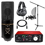 Home Studio MXL 770X Condenser Mic with Focusrite Solo 2nd Gen Interface Stand and ATH-M20x Headphones