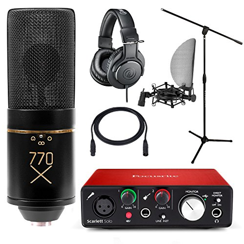Home Studio MXL 770X Condenser Mic with Focusrite Solo 2nd Gen Interface Stand and ATH-M20x Headphones by Focusrite