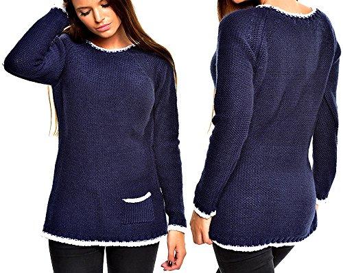 ... TAZZIO Damen Pullover Grobstrick Pulli Strickpullover Sweatshirt  Winterpullover Zopfmuster Größe S - XL Dunkelblau Blau ZAXdGsLH e06d44ac23