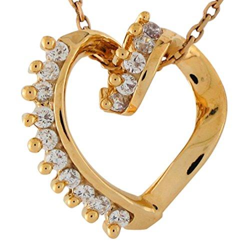 14k Yellow Gold Genuine Diamond Studded Ladies Open Heart Twist Floating Pendant
