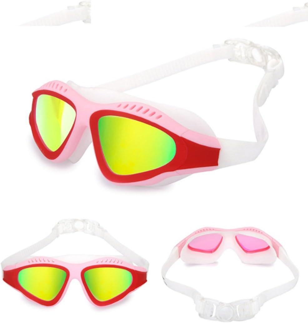 Schwimmende Brille Erwachsene Neutral Gro/ße Box Flach Licht Myopie HD Wasserdichte Anti-Fog-Schwimmbrille,Blackandblue
