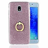 Galaxy J3 2018 Case - J3 Achieve J3 V 2018 J3 Star Amp Prime 3 Case - Rotating Ring Holder Kickstand Case 2 in 1 Paper Gel TPU Bling Glitter Cover for Galaxy J3 2018