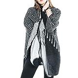 Shawls for women,iOPQO fashion tartan stripe winter coat cozy shawl warm scarves
