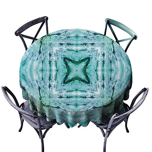 Zllickd Restaurant Tablecloth Kaleidoscope Star Inside Square Shaped Kaleidoscope Tie Dye Motive with Outer Figures Image Teal Blue Picnic ()