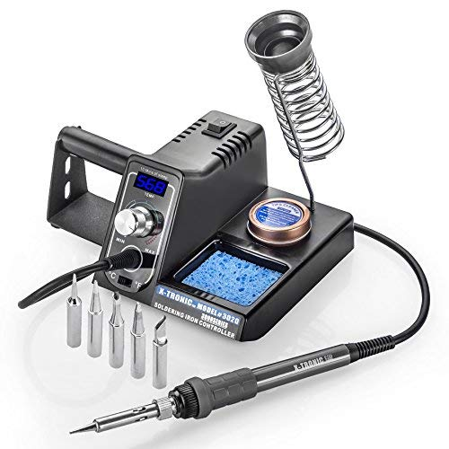 X-Tronic Model #3020-XTS-ST - 75 Watt - Soldering Iron Station with 10 Min Sleep Function, Auto Cool Down, C/F Switch, Ergonomic Soldering Iron Plus More (Soldering Station-Complete with 5 Extra Tips) (Best Cheap Soldering Station)