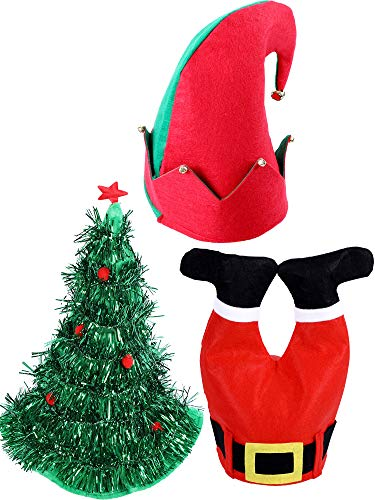 Jovitec 3 Pieces Christmas Hat Novelty Decoration Hats Include Santa Pants Hat Elf Hat Christmas Tree Hats for Adults and -