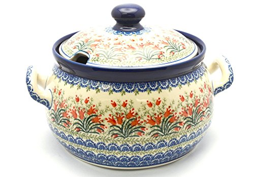 Polish Pottery Covered Tureen - Crimson Bells - Polish Pottery Soup Tureen